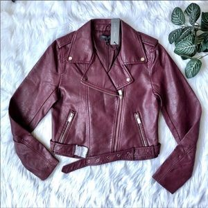 Romeo and Juliet Couture $218 NWT Wine Moto Jacket